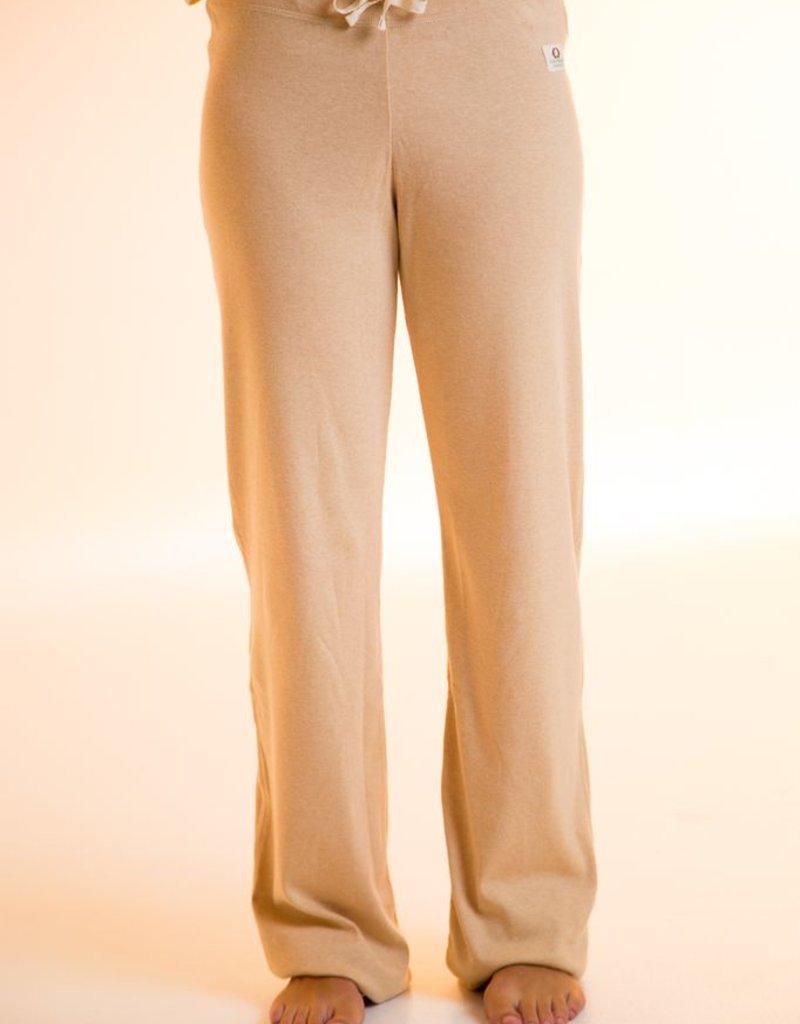 Unisex yoga pants made with rib jersey fabric