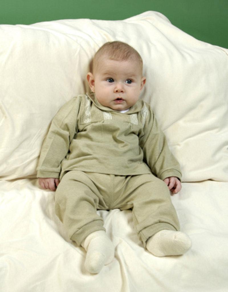 Blusa bebé canesú manga larga. Tallas 12, 18, 24 meses.