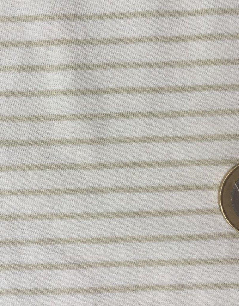 Single jersey stripes ecru/green OCCGuarantee  160grs.