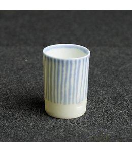 Kaolin Espresso Becher White Blue gestreift
