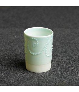 Kaolin Espresso Becher White türkis Dots spiral