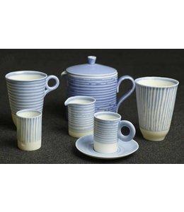 Kaolin Kaffee Set White Blue gestreift