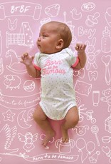 Born to be famous NB Baby Romper - Pink