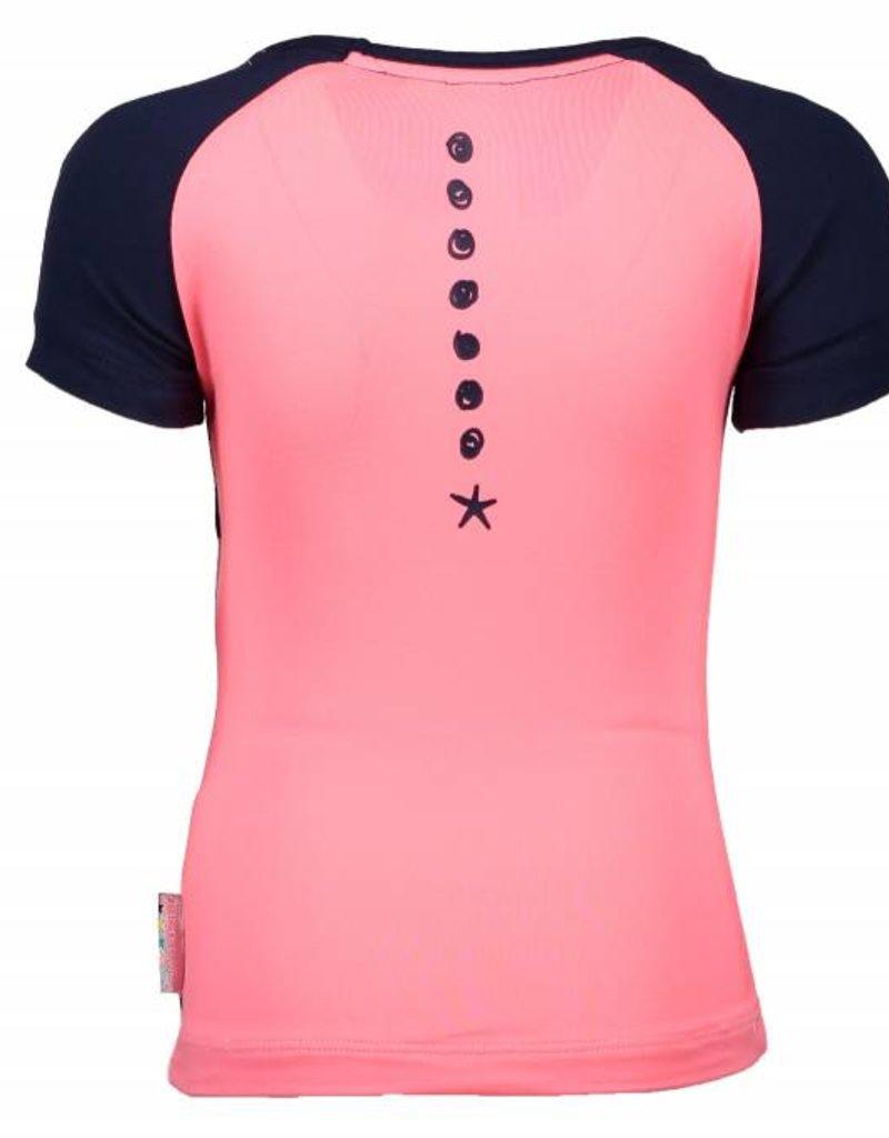B. Nosy girls shirt with stripe front, plain backside, glitter print Stripe blueberry/white