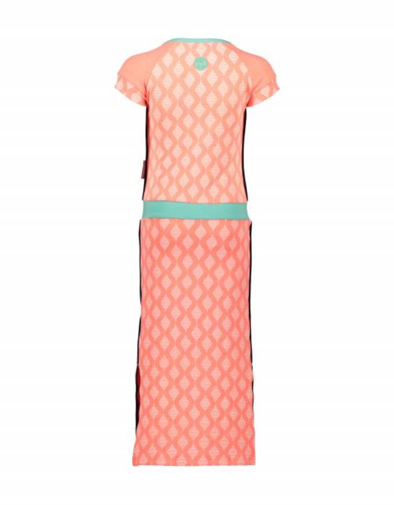 B. Nosy girls long dress with retro allover print, slit on the sides, high density print front Neon coral