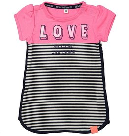 Born to be famous Jurk Combi Neon Pink/Stripe