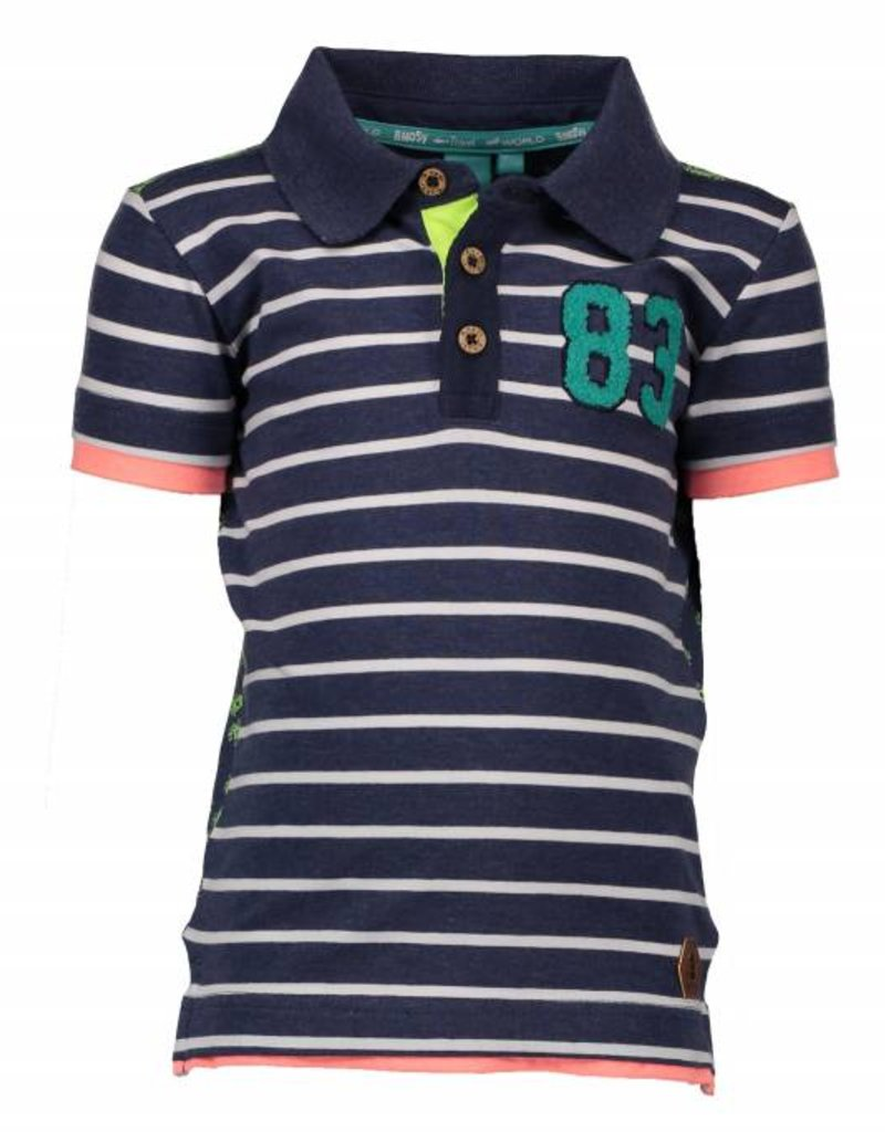 B. Nosy boys polo stripe shirt with contrast backside Jeans blue melee