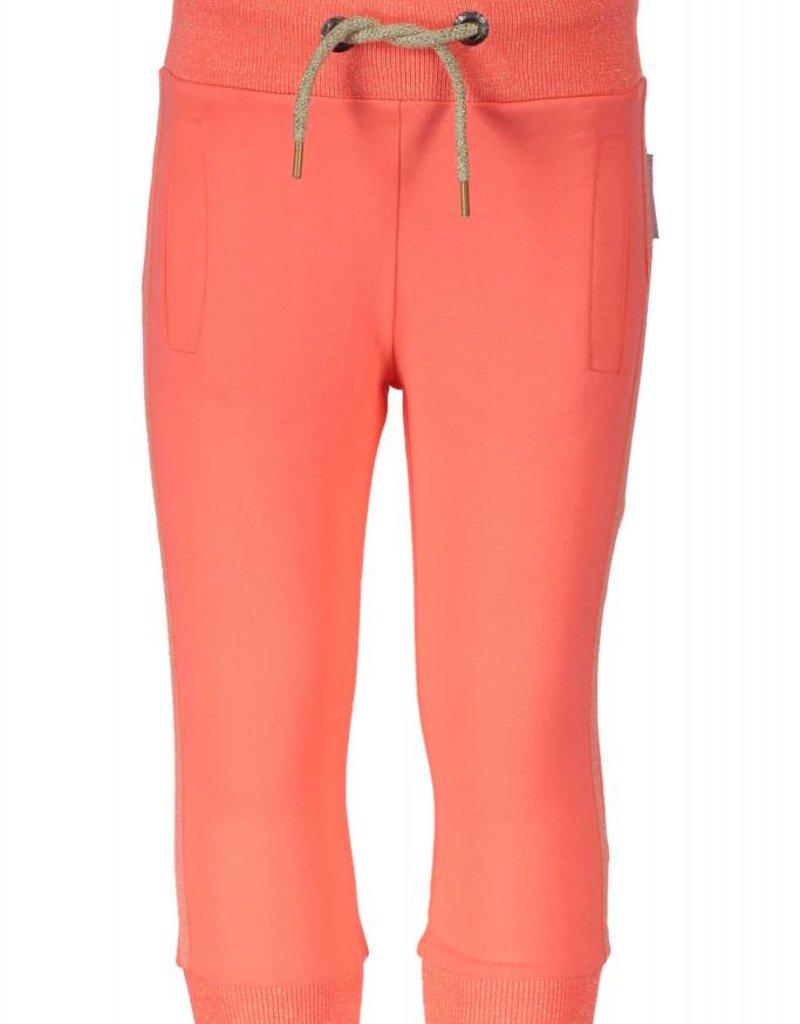 B. Nosy girls pants 3/4 with glitter matching herringbone tape, lurex knitrib Neon coral