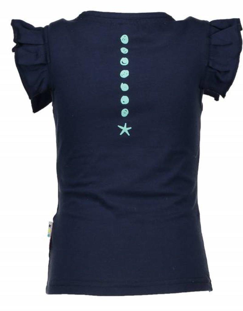 B. Nosy girls ruffle shirt with rope artwork Blueberry