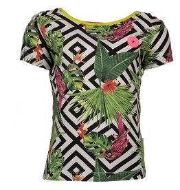 B. Nosy girls tropical graphic ss shirt, with open bakcside, ruffle part White