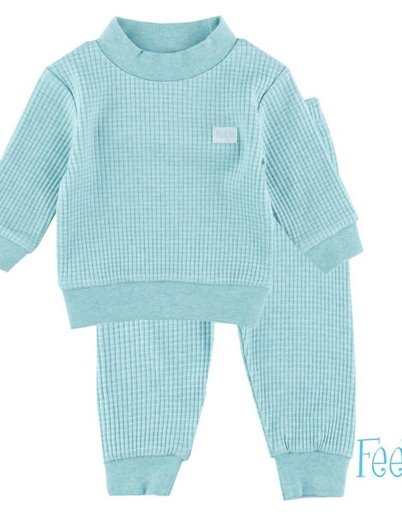 Feetje Pyjama wafel Groen melange