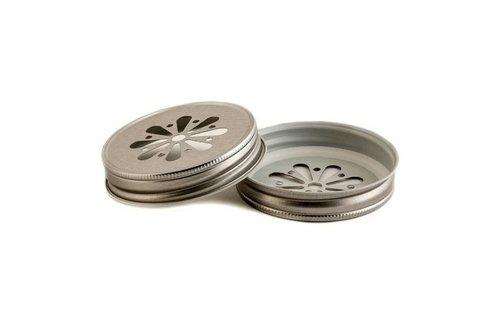 MasonJars Deksel Madeliefje Zilver - (8 stuks)
