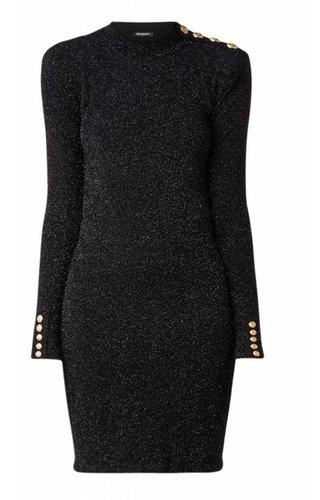 Balmain Sleeveless Dress With Lurex And Button Detail
