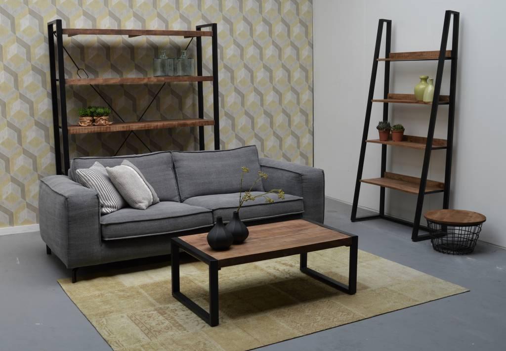 Livingfurn open kast strong van 160 cm breed hout metalen frame