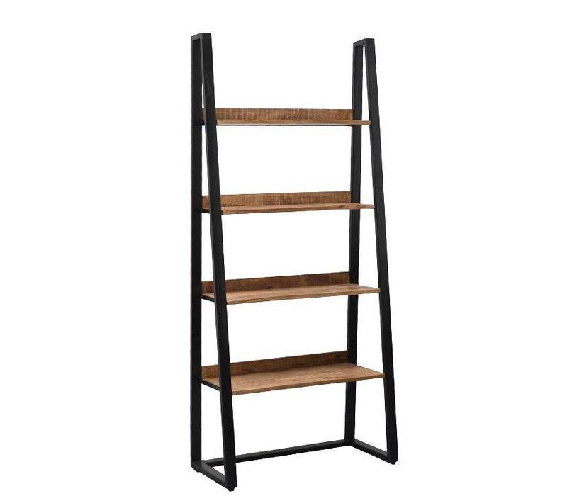 Livingfurn boekenkast STRONG 90 cm van mango hout met metalen frame ...