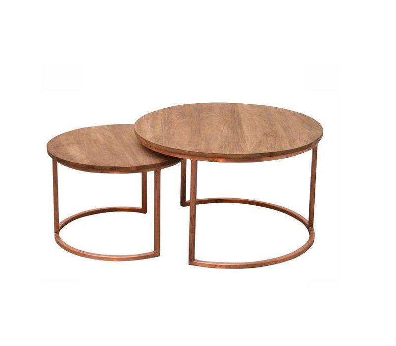 salontafel rond koper set van 2