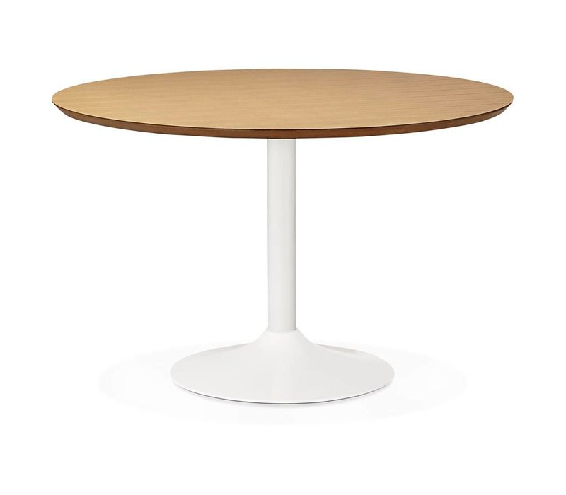Eettafel BURO rond 120cm wit/eiken