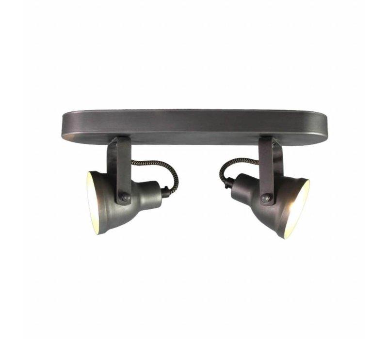 Plafond lamp Spot Max 2-lichts incl LED burned steel