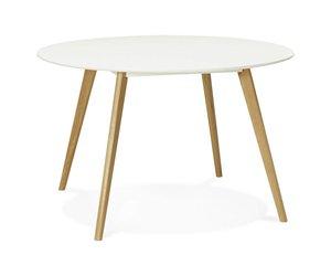 Tafel Rond Wit : Kokoon design ronde eettafel wit blad en eiken poten camden 120cm