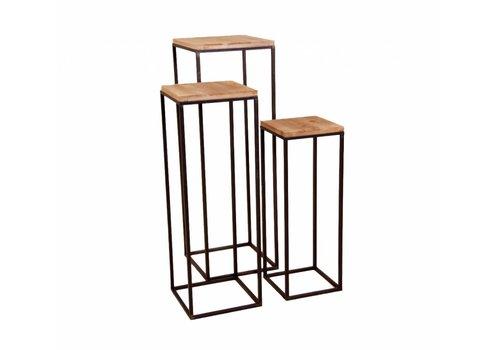 hoom-amsterdam Bijzettafel  YARULA set van 3 metaal/hout
