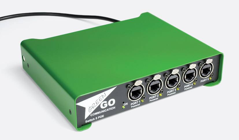 GreenGO 5 ports truss mount ethernet switch with Power over Ethernet