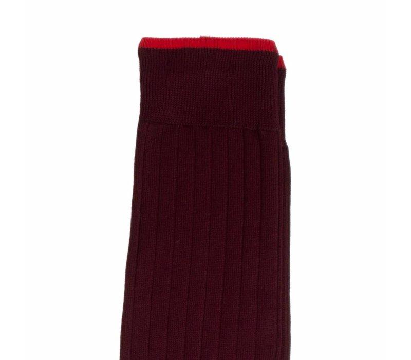 Herrenstrümpfe aus Mako Baumwolle in Bordeauxrot und Rot