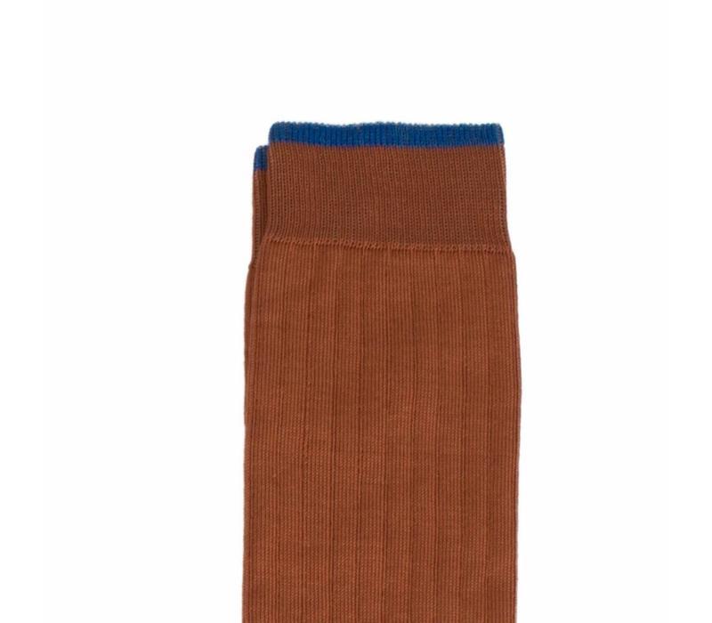 Herrenstrümpfe aus Mako Baumwolle in Dunkelorange und Blau
