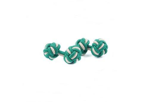Gentleman's Agreement Manschettenknoten aus Seide in Grün und Weiß