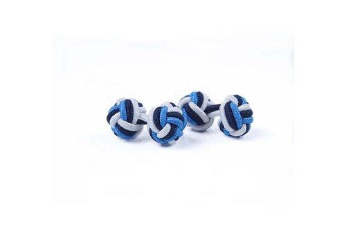 Gentleman's Agreement Manschettenknoten aus Seide in Weiß und Marine und Blau