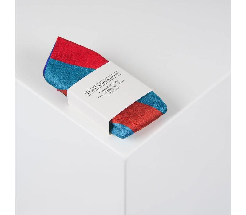 Einstecktuch aus Dupion Seide gestreift in Rot-. Grün- und Blautönen
