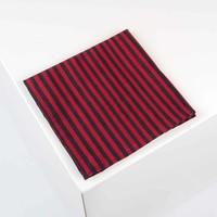 Einstecktuch aus Dupion Seide gestreift in Schwarz und Rot