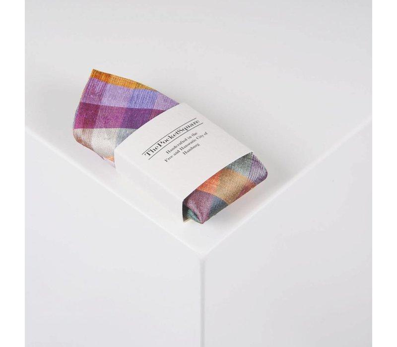 Einstecktuch aus Dupion Seide kariert in Variation von Violett-. Gelb- und Grüntönen