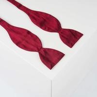 Selbstbinder aus Dupion Seide in Bordeauxrot