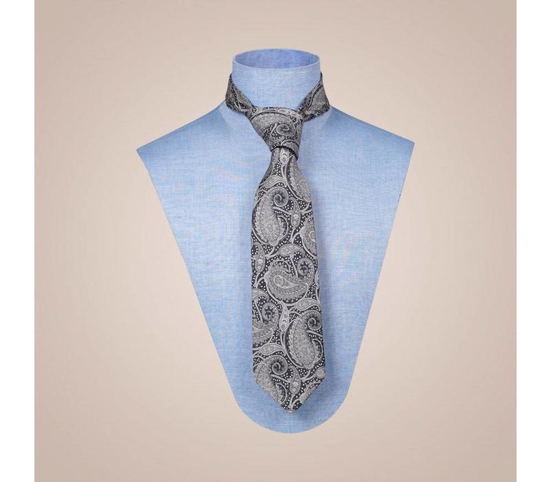 Handgefertigte Krawatte aus Jacquard-Seide in Schwarz-Beige | 8 cm breite