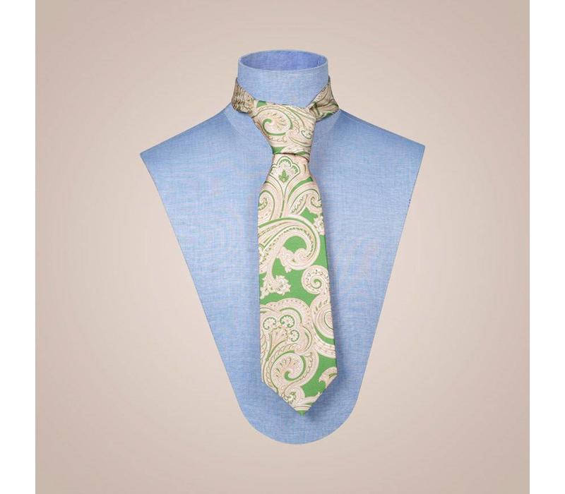 Handgefertigte Krawatte aus Seide in Farbkombination Grün-Beige-Gold | 8,5 cm breite