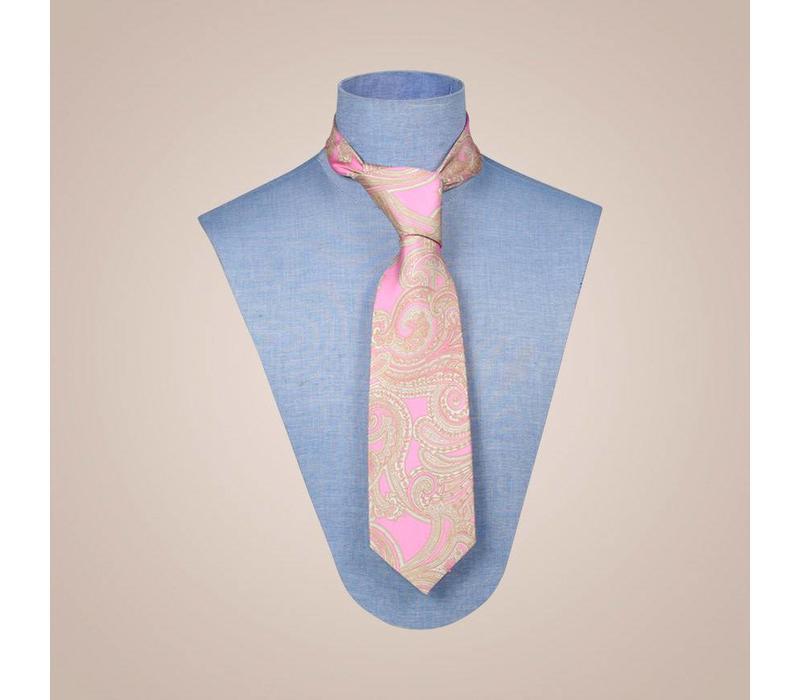Handgefertigte Krawatte aus Seide in Farbkombination Rosa-Beige-Gold | 8,5 cm