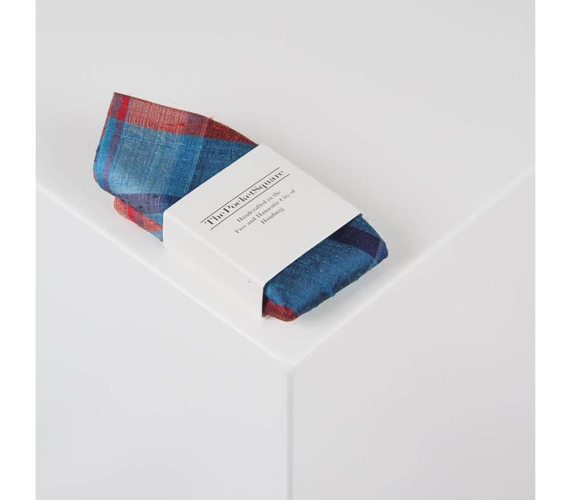 Einstecktuch handgenäht aus Dupionseide - Karomuster