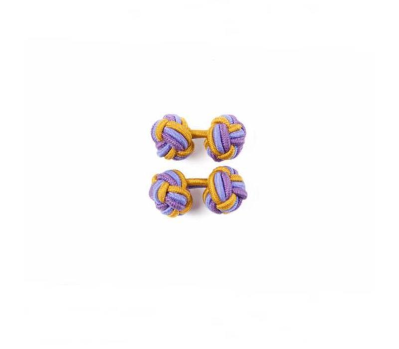 Manschettenknoten aus Seide in Gold und Violett und Flieder