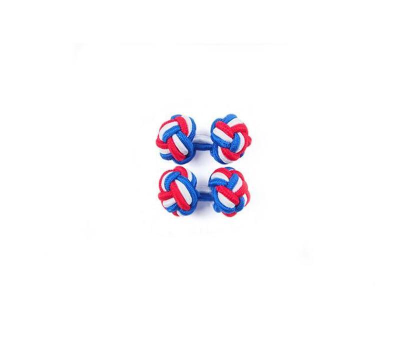 Manschettenknoten aus Seide in Royal und Rot und Weiß