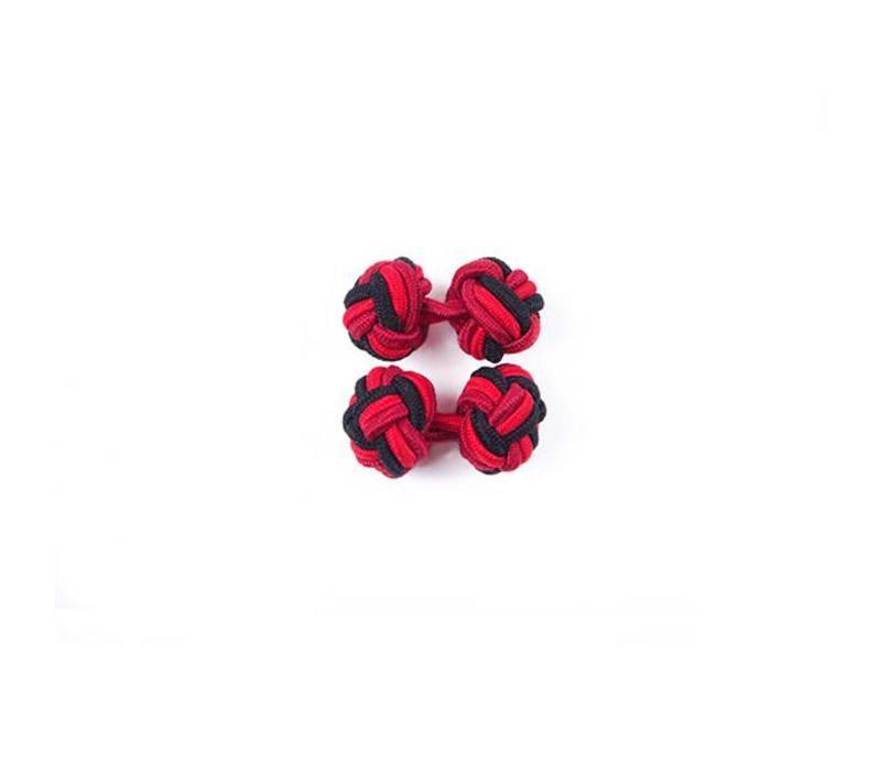 Manschettenknoten aus Seide in Schwarz und Rot