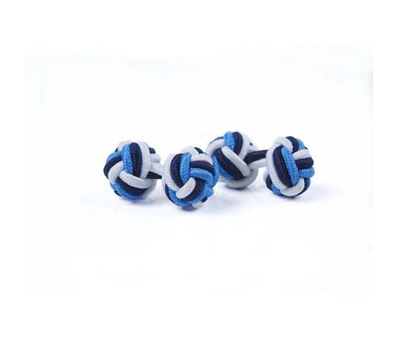 Manschettenknoten aus Seide in Weiß und Marine und Blau