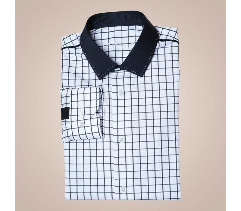 Hemd aus Baumwolle schwarz-weiß kariert | Passform: Slim Fit