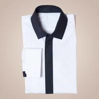 Hemd aus Baumwolle in cremeweiß-schwarz mit Kent-Kragen | Passform: Slim Fit
