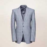 Sakko aus grauer Wolle (S'130) mit Karo-Muster | Passform: Slim Fit