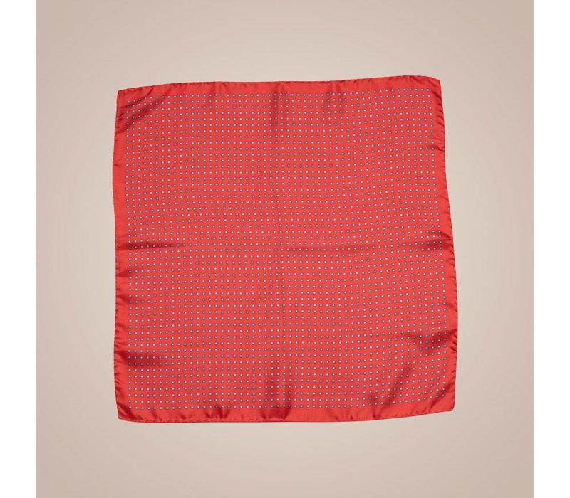 Handrolliertes rotes Einstecktuch aus Seide
