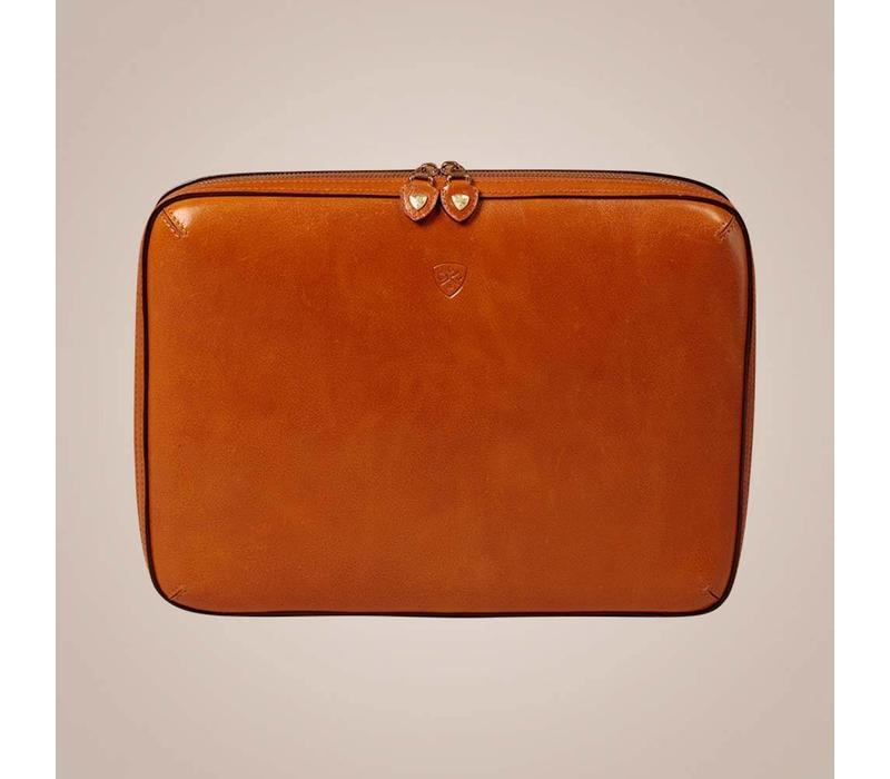 Laptoptasche aus gewachstem Kalbsleder | Camel