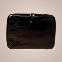 Laptoptasche aus gewachstem Kalbsleder | Schwarz
