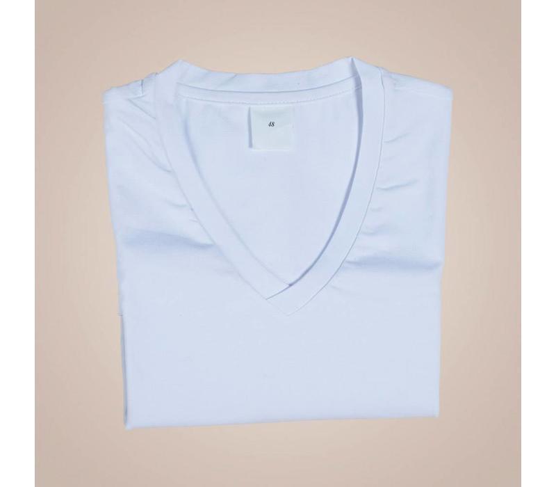 Unterhemd-Shirt aus elastischer Baumwolle | V-Ausschnitt
