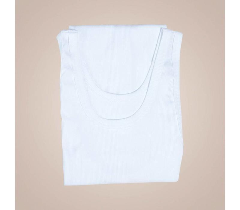 Weißes Unterhemd aus gerippter elastischer Baumwolle
