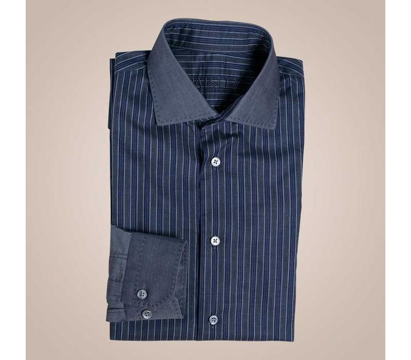 Hemd blau-grau gestreift mit abgesetzem Kragen & Manschette | Slim Fit